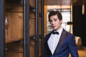 Ludi Lin suit in Vancouver